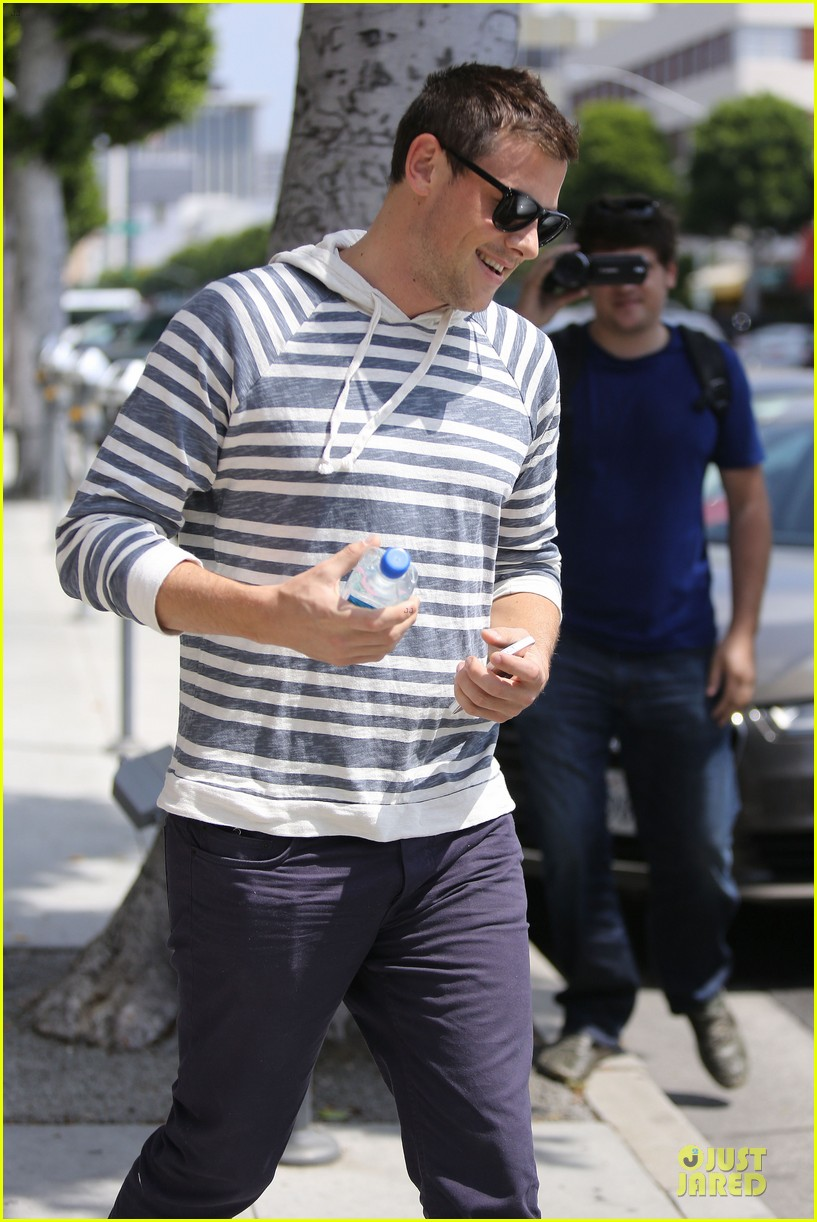 lea michele sheer grocery run cory monteith striped office meeting 152872595