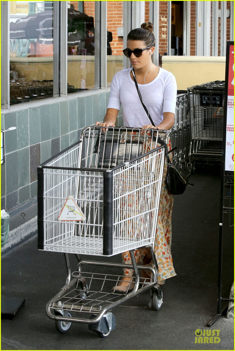 lea michele sheer grocery run cory monteith striped office meeting 212872601