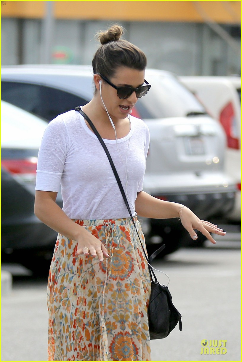 lea michele sheer grocery run cory monteith striped office meeting 232872603