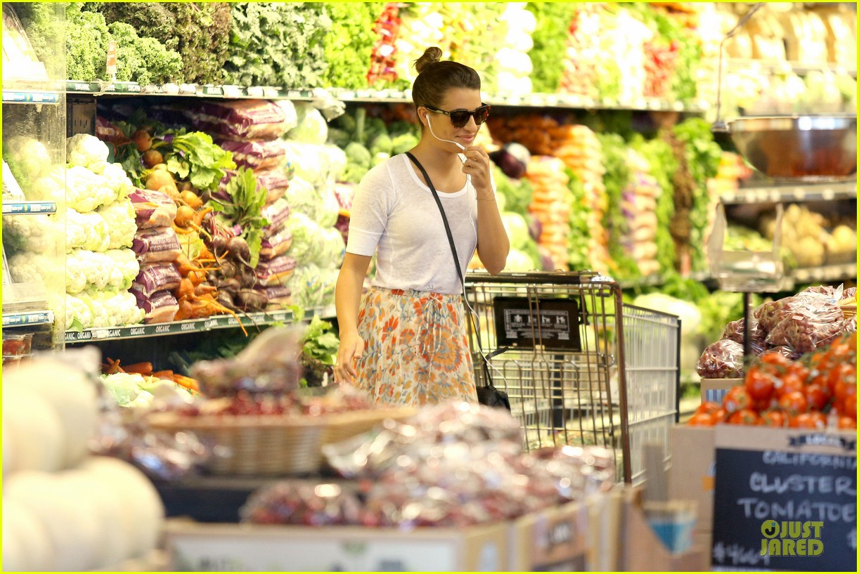 lea michele sheer grocery run cory monteith striped office meeting 252872605