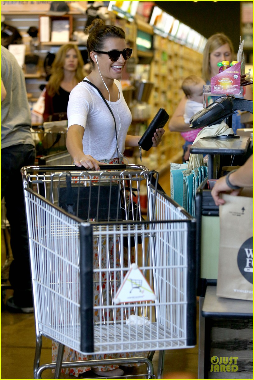 lea michele sheer grocery run cory monteith striped office meeting 292872609