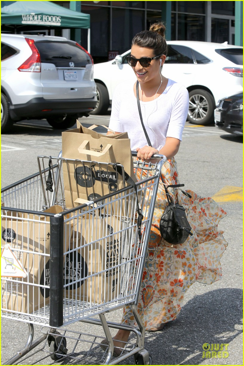 lea michele sheer grocery run cory monteith striped office meeting 322872612