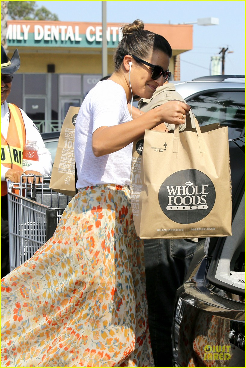 lea michele sheer grocery run cory monteith striped office meeting 342872614