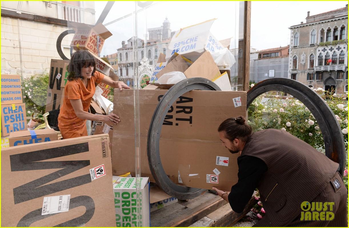 milla jovovich performs in plexiglass for international art exhibition 172879936