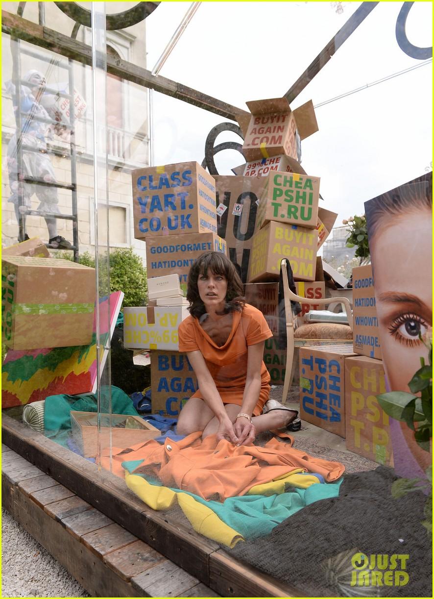 milla jovovich performs in plexiglass for international art exhibition 182879937