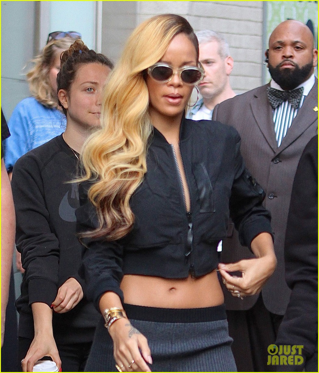 rihanna bares midriff for commercial shoot in nyc 022871121