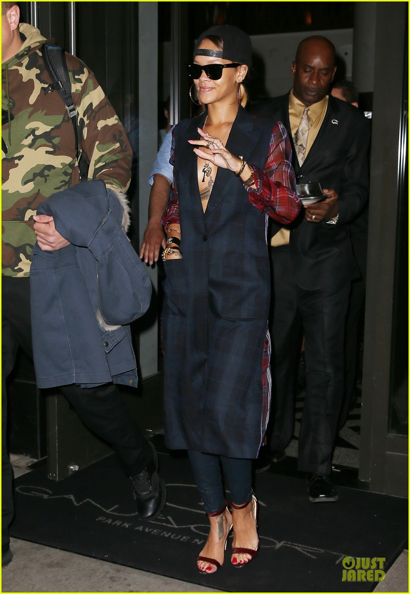 rihanna plunging plaid shirt 032864581