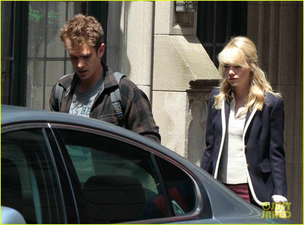 emma stone andrew garfield day 82 on spider man 2 set 102880345