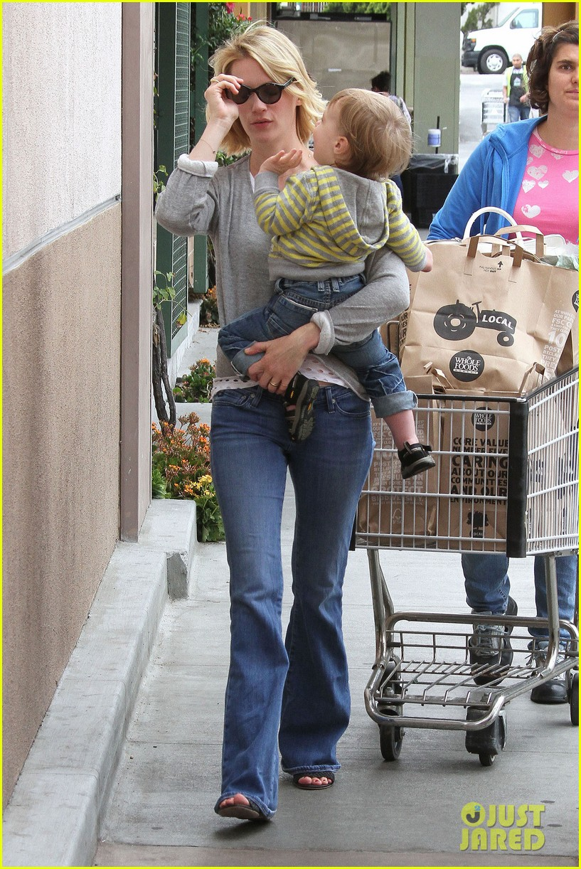 baby xander grabs mom january jones sunglasses 162867378