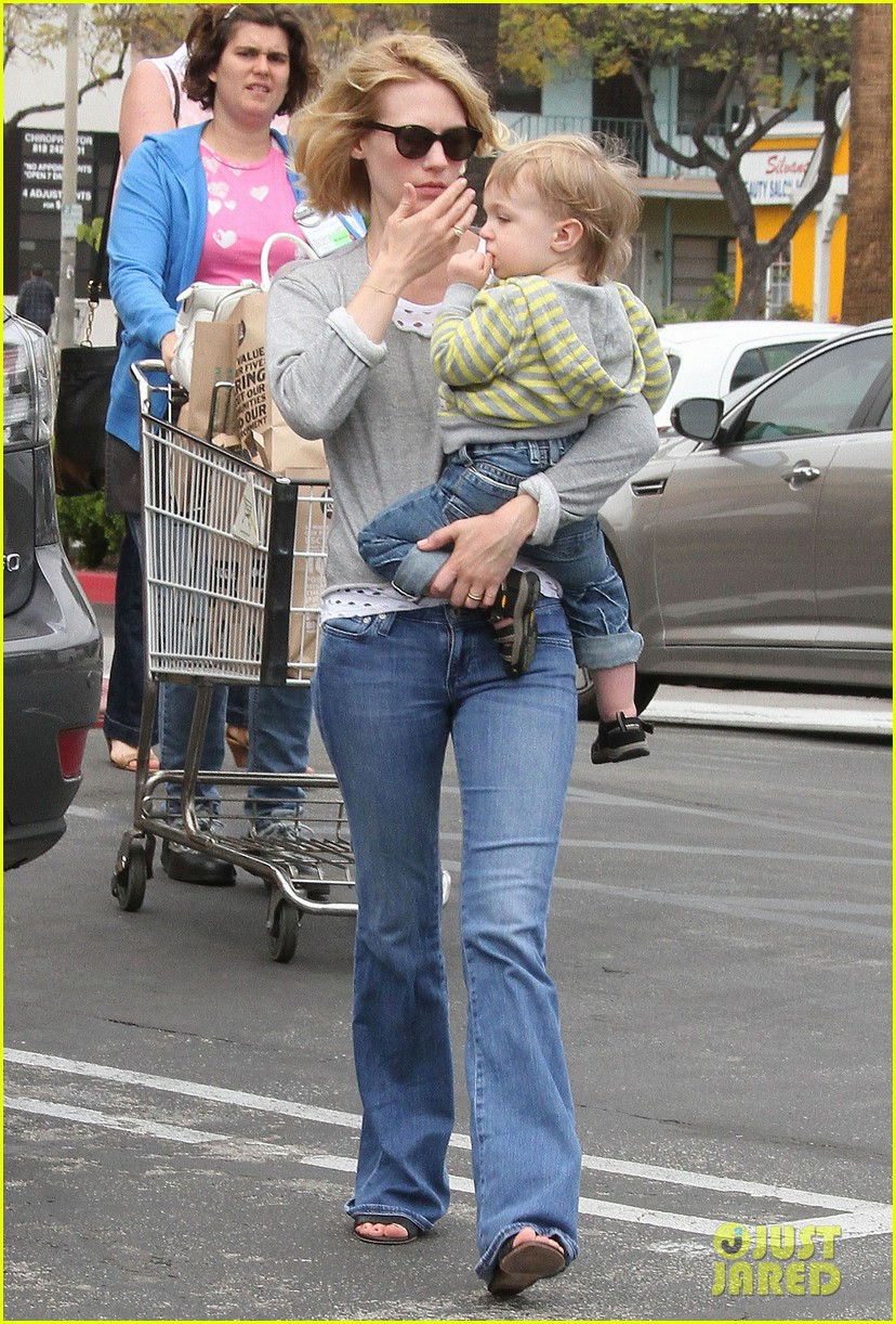 baby xander grabs mom january jones sunglasses 202867382