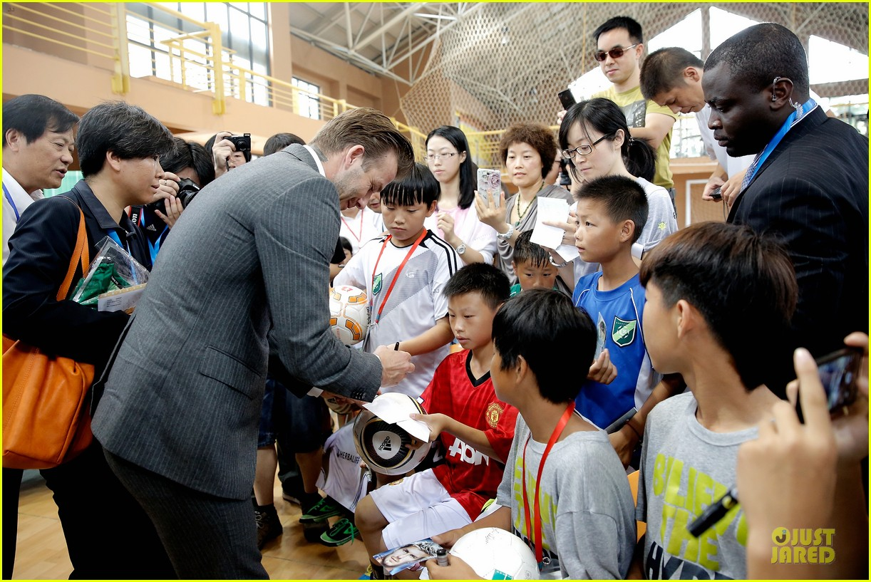 david beckham visits hangzhou greentown club victoria shops 152896328