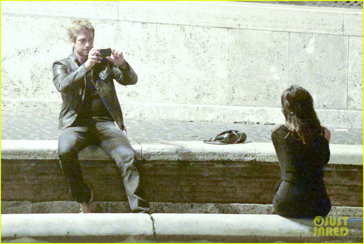 gerard butler rome night out with madalena ghenea 232898181
