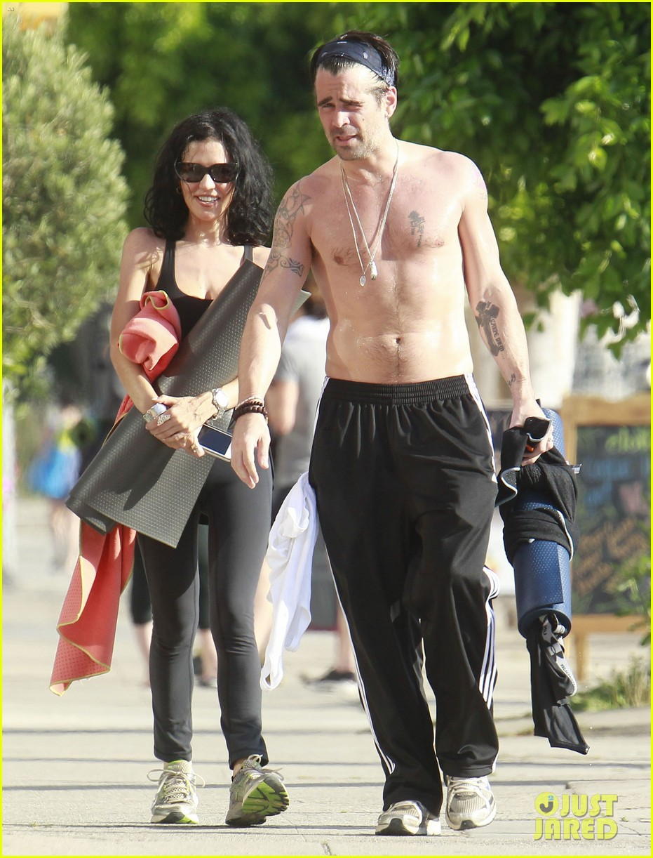 colin farrell shirtless yoga with sister claudine 042884132