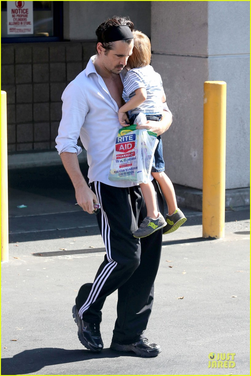 colin farrell rite aid snacks with henry 262891769