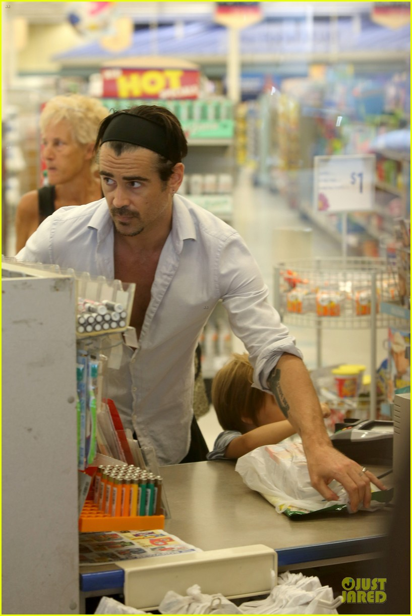 colin farrell rite aid snacks with henry 282891771