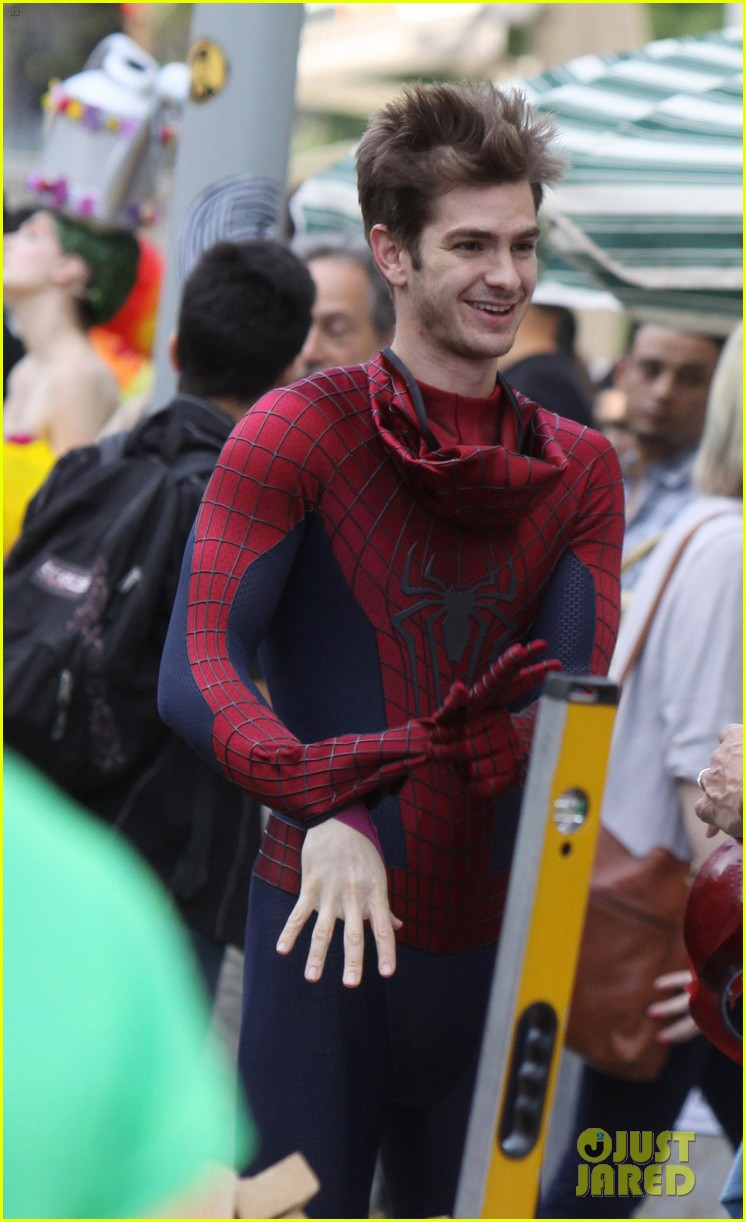 andrew garfield plays with kids on amazing spider man 2 set 252896628