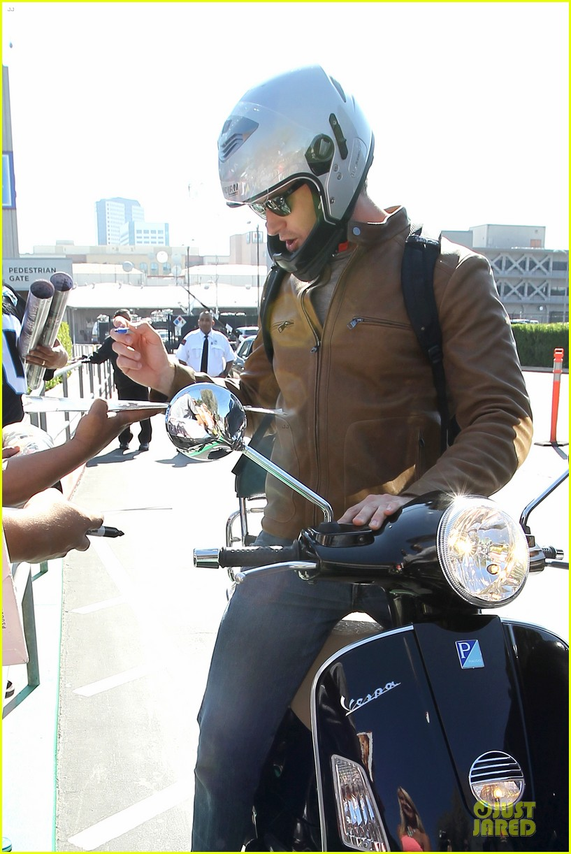 armie hammer motorcycle rider after leno appearance 112891591