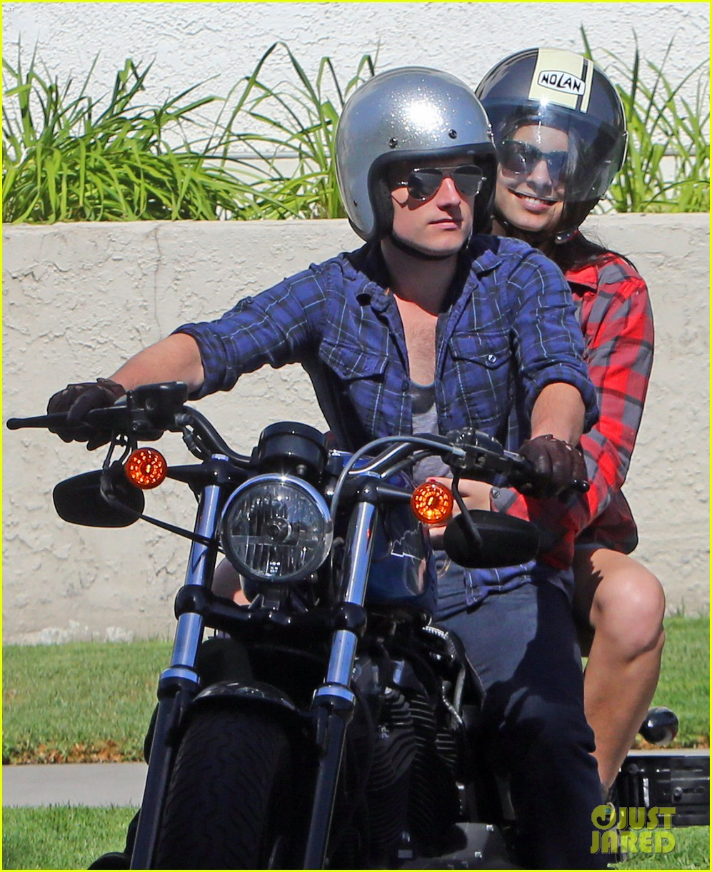 josh hutcherson claudia traisac kiss after motorcycle ride 042896633
