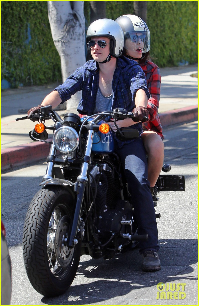 josh hutcherson claudia traisac kiss after motorcycle ride 062896635