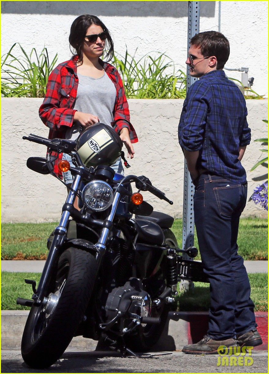 josh hutcherson claudia traisac kiss after motorcycle ride 212896650