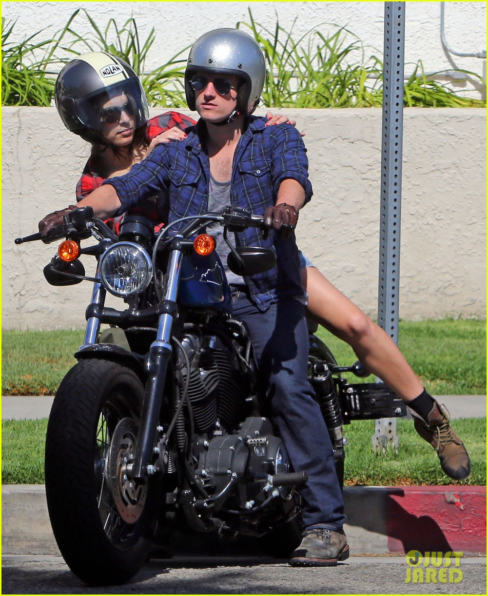 josh hutcherson claudia traisac kiss after motorcycle ride 252896654
