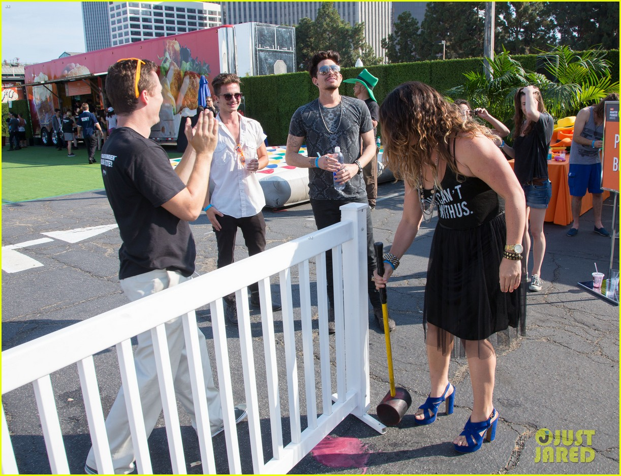 adam lambert hammer time at just jared summer kick off party presented by mcdonalds 132883191