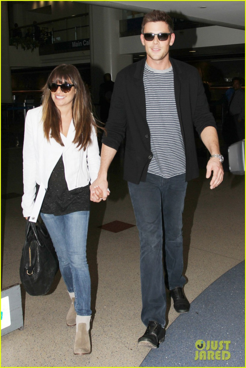 lea michele cory monteith hold hands at lax airport 012895476
