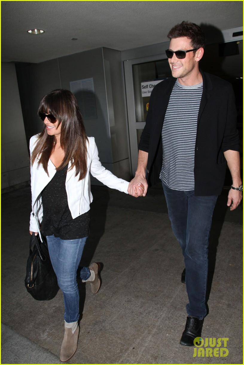 lea michele cory monteith hold hands at lax airport 032895478