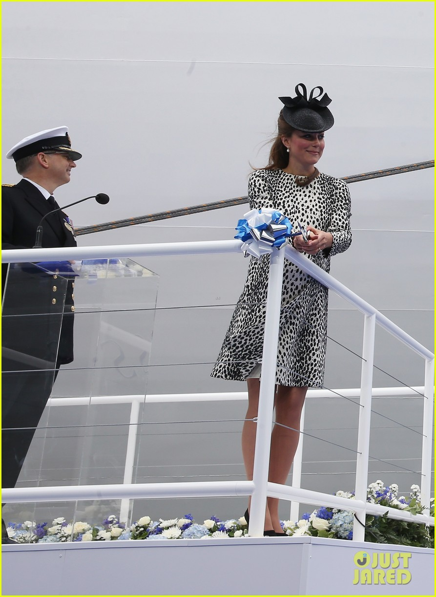 pregnant kate middleton baby bump at first ship christening 10