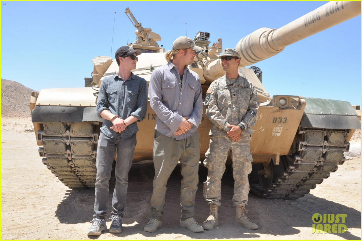 brad pitt shia labeouf visit fort irwin to prep for fury 012900988