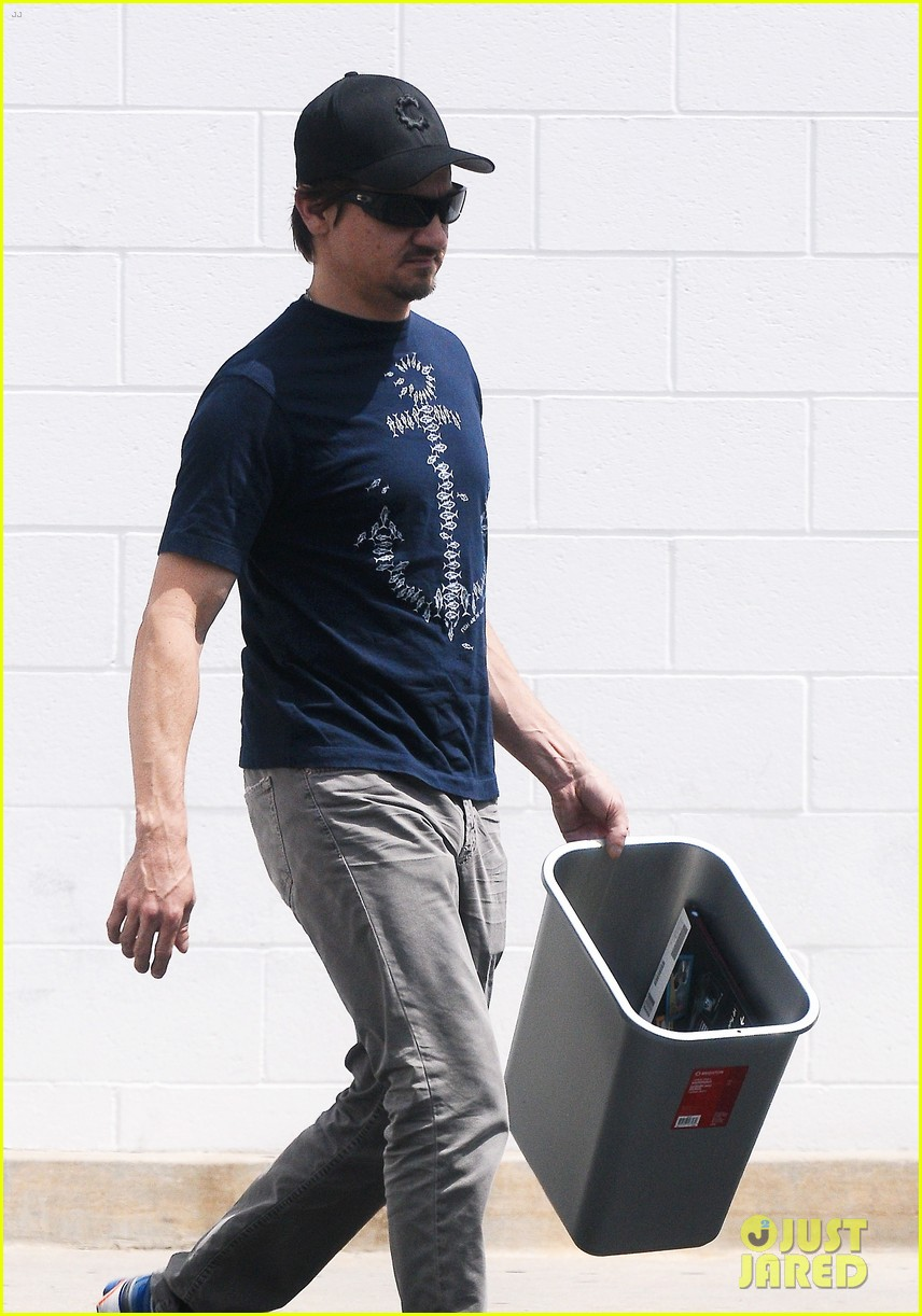 jeremy renner picks up office supplies take out food 132892076