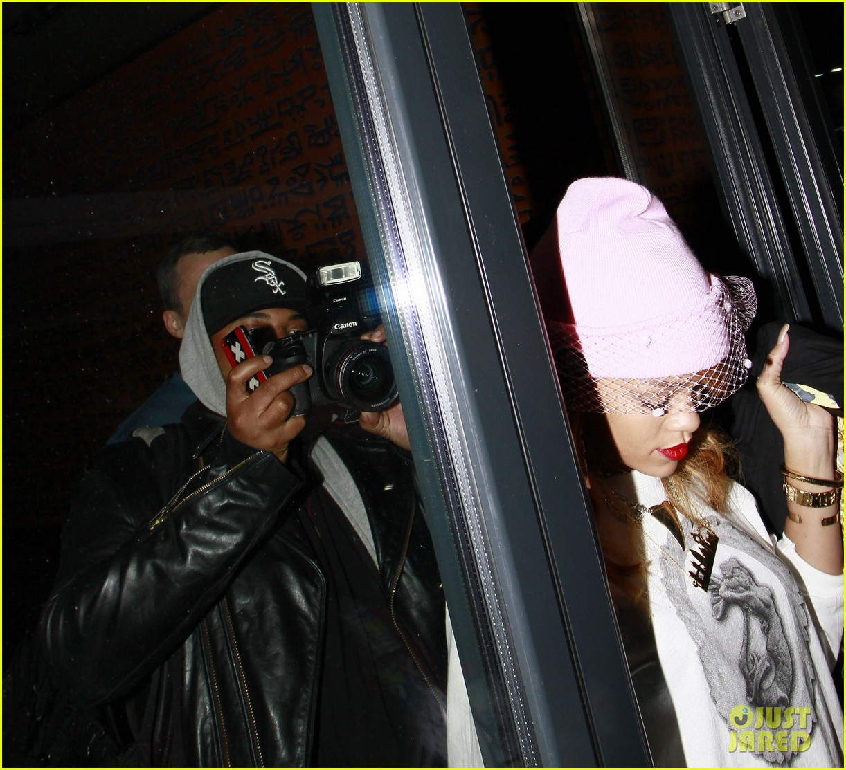 rihanna pink veiled beanie hat in amsterdam 172896584