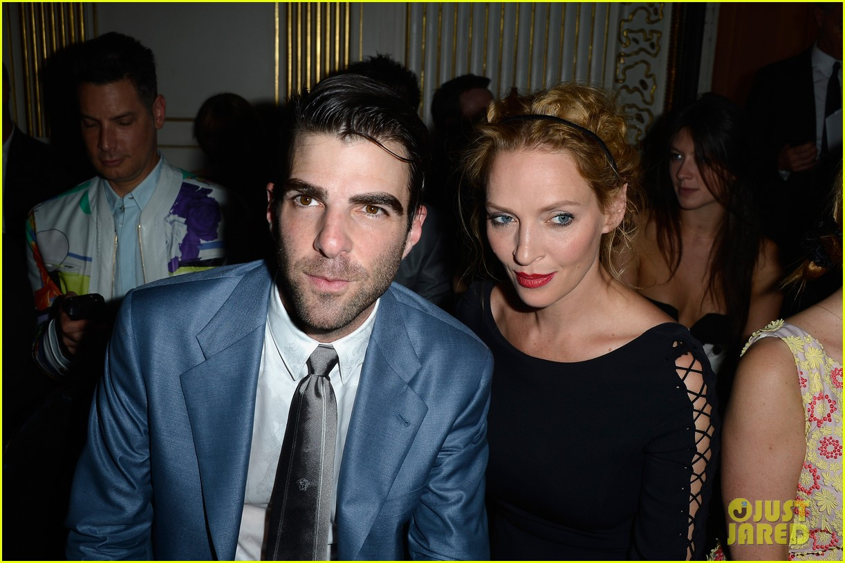 zachary quinto uma thurman front row at versace show 192901341
