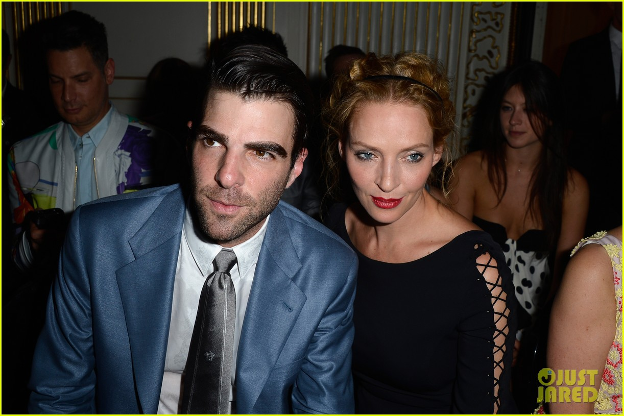 zachary quinto uma thurman front row at versace show 20