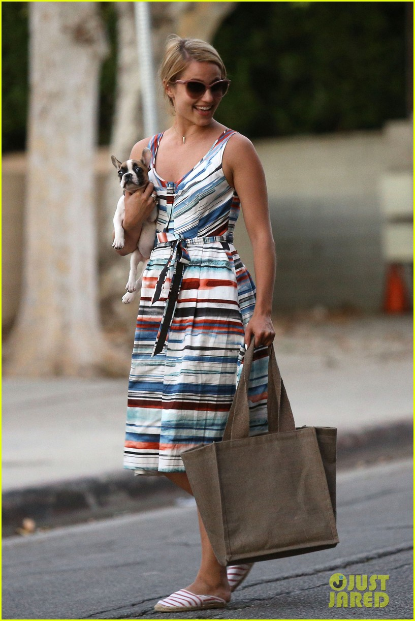 dianna agron kisses her new puppy on wednesday outing 01