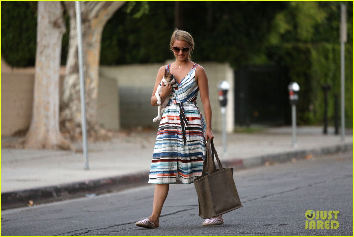 dianna agron kisses her new puppy on wednesday outing 10