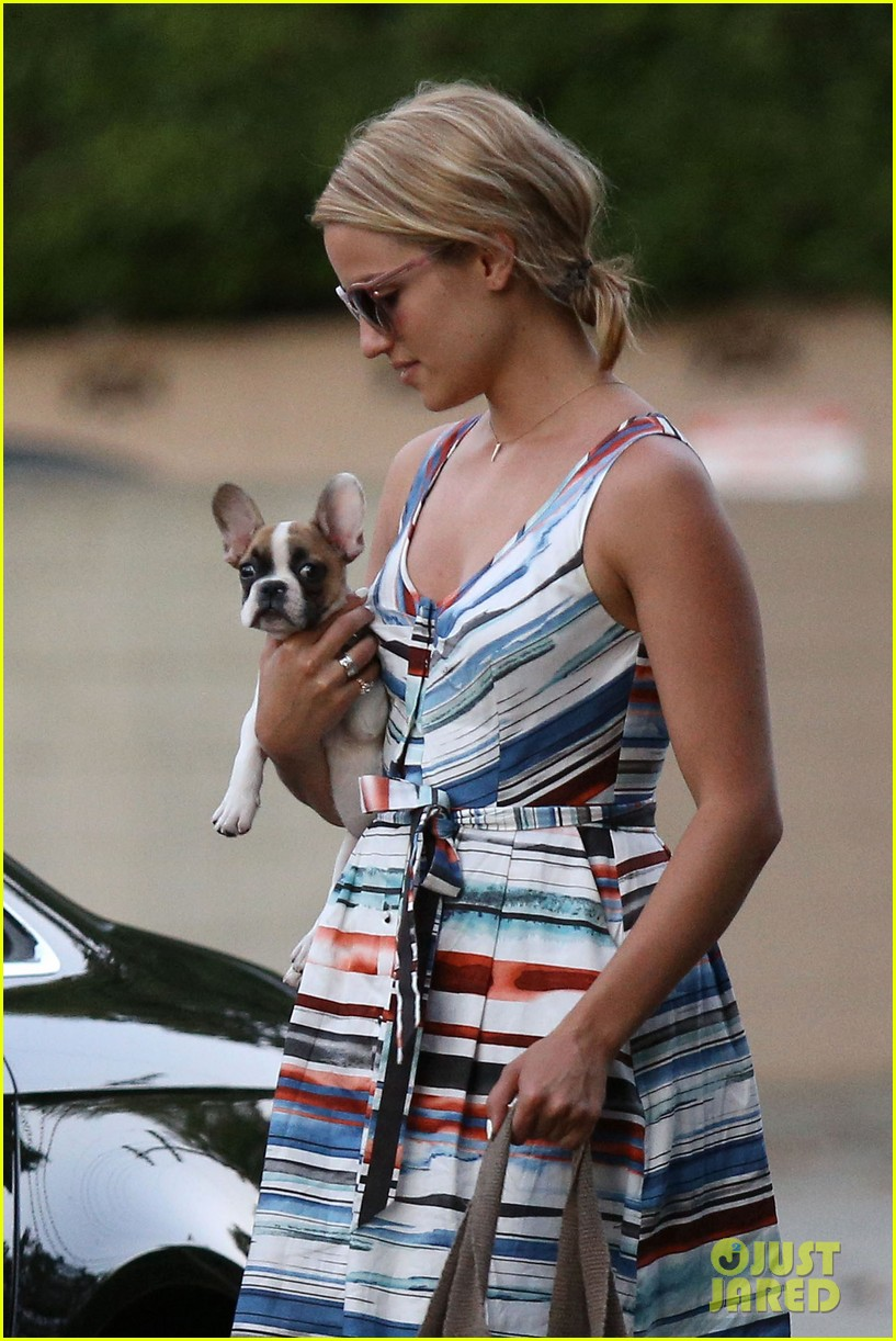 dianna agron kisses her new puppy on wednesday outing 282911304