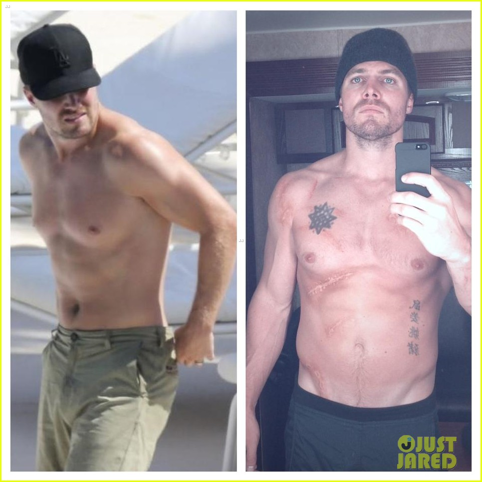 stephen amell shows off buff shirtless body for arrow season two 01