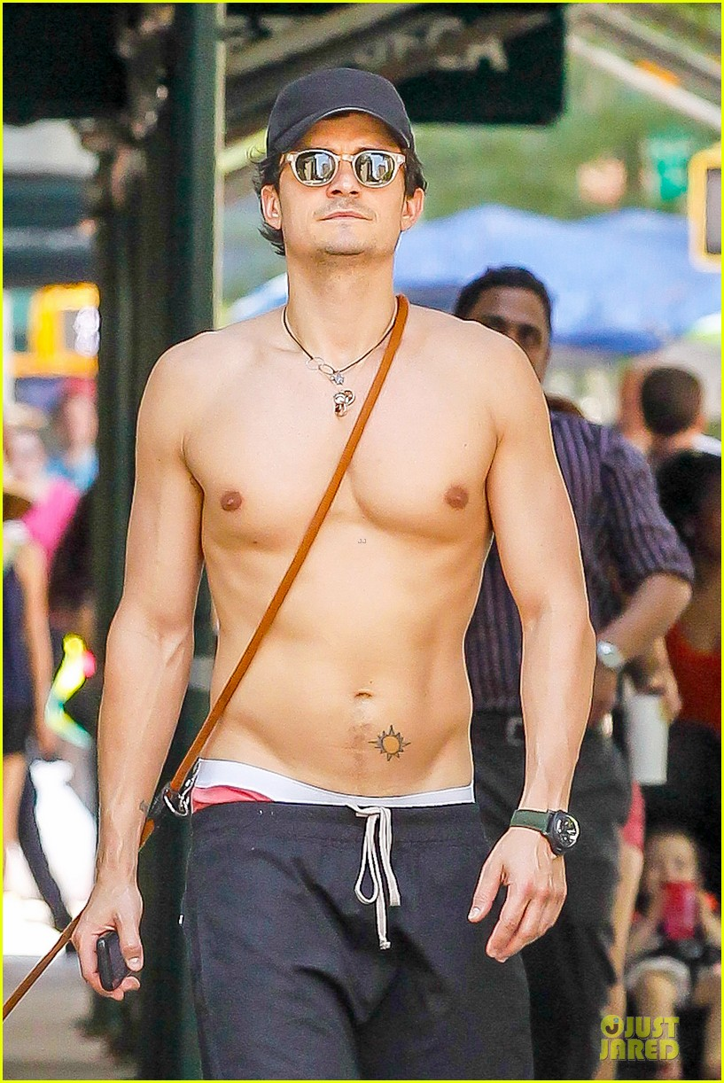 orlando bloom shirtless cool down with flynn sidi 022910449