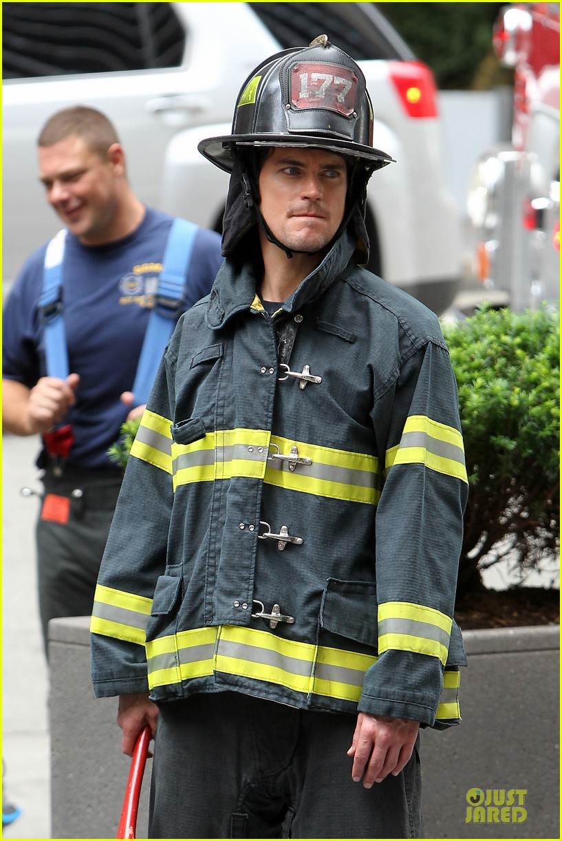 matt bomer fire fighter on white collar set 122915333