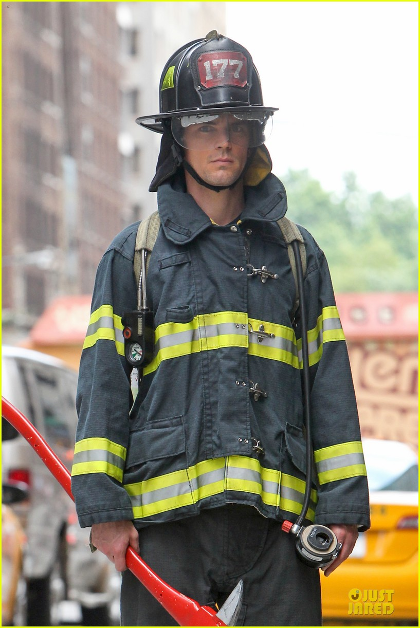 matt bomer fire fighter on white collar set 182915339