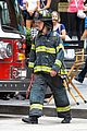 matt bomer fire fighter on white collar set 22