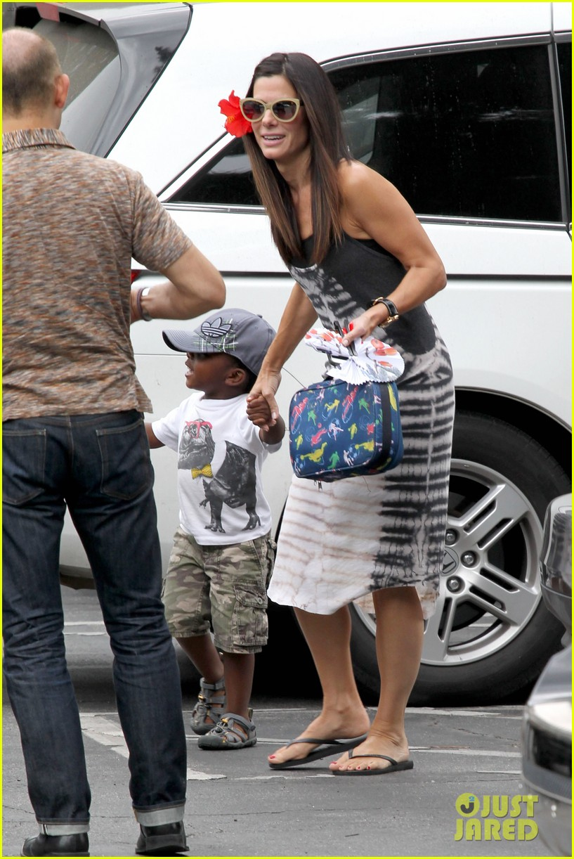 sandra bullock celebrates 49th birthday with son louis 032917777