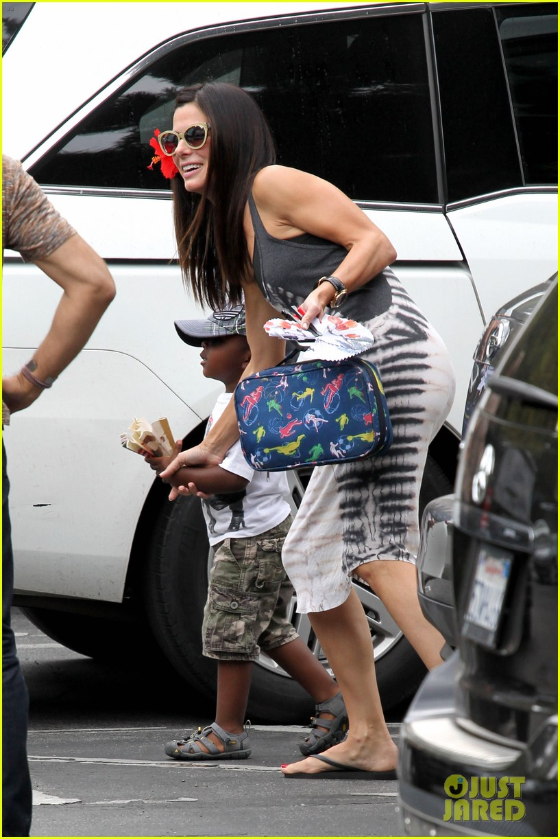 sandra bullock celebrates 49th birthday with son louis 042917778
