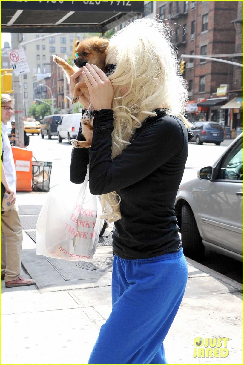 amanda bynes hides face behind dog after court day 042907296