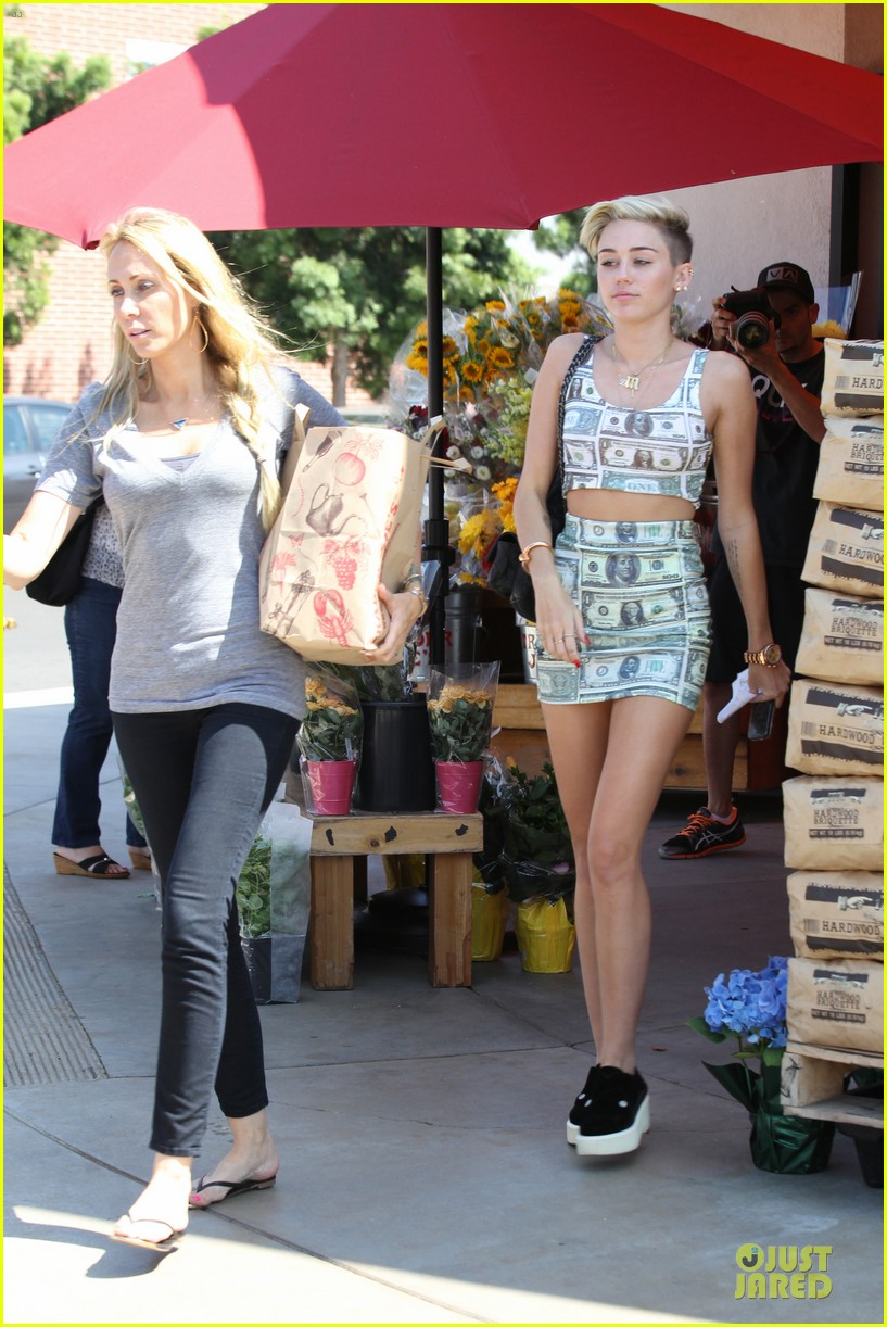 miley cyrus bares midriff with money dress 012908617