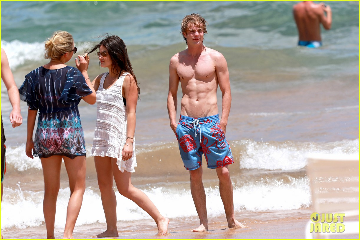 lucy hale more beach fun with shirtless graham rogers 012902594