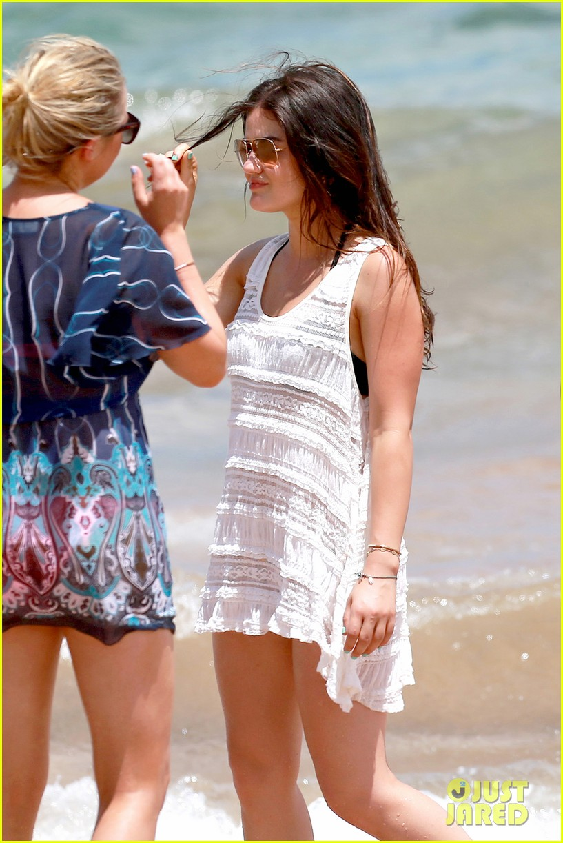 lucy hale more beach fun with shirtless graham rogers 042902597