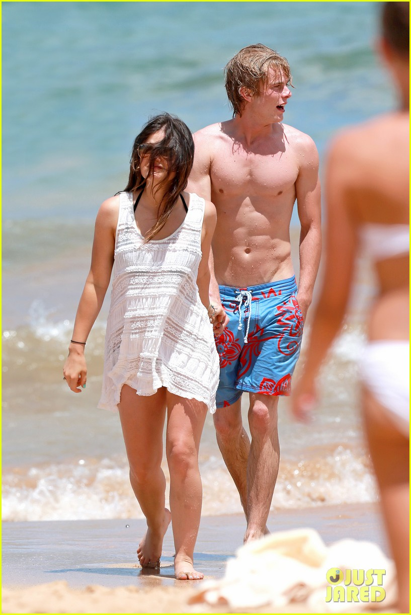 lucy hale more beach fun with shirtless graham rogers 062902599