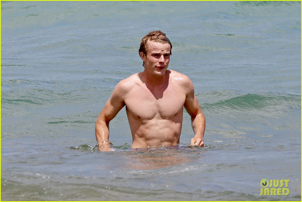 lucy hale more beach fun with shirtless graham rogers 142902607